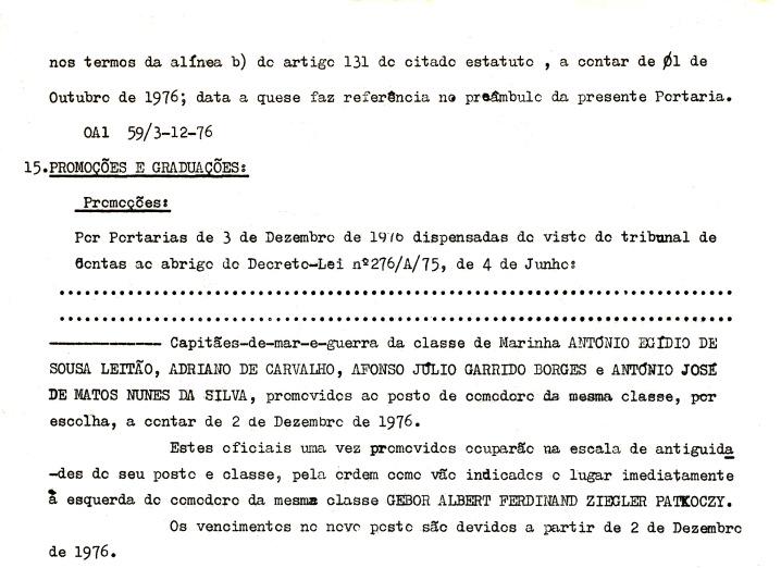 00782 976-12-02 Promovido a Comodoro por Portaria de 3-12-76 -Ordem do EMA 18 de 6-12-76