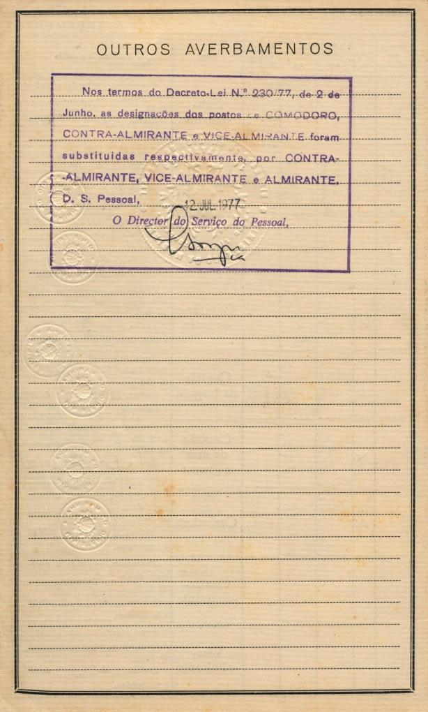 00784 977-06-02 O posto de Comodoro passou a ter designação de Contra-Almirante -DL 230-77 de 2 Junho -Averbamento na Carta Patente