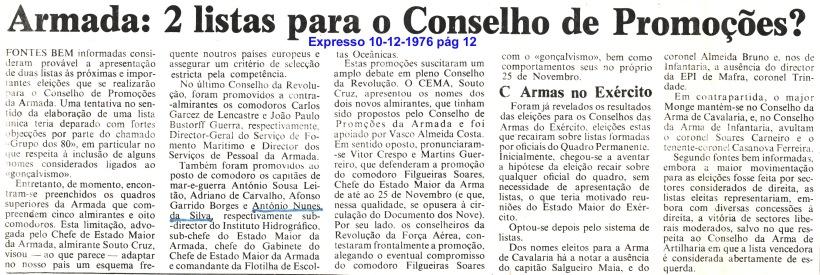 00788 976-12-10 notícia no Expresso pág 12 da decisão da minha promoção a comodoro
