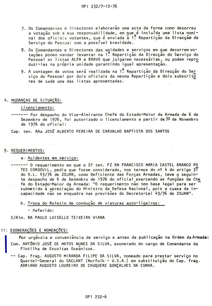00794 976-12-06 exonerado do cargo de Comandante da Flotilha de Escoltas Oceânicos dada a promoção -OP 1 232 de 7-12