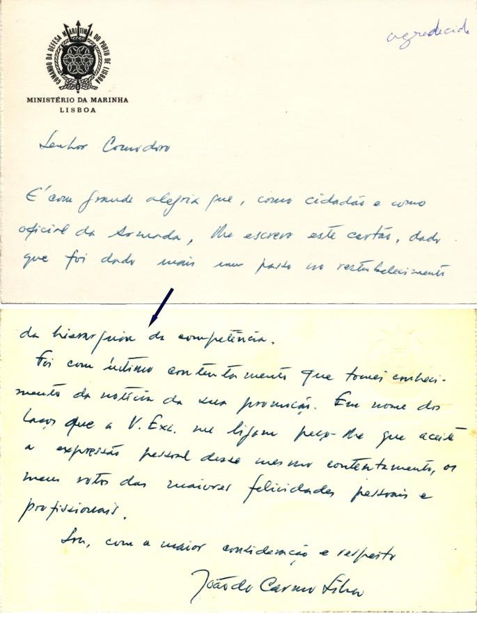 00796 976-12 cartão de felicitações do Comte Carmo Silva pela minha promoção
