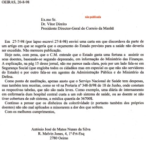 0083 saúde -carta a CM não publ 20-8-1998