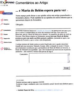 0274 rescaldo de Maria de Belém na Saúde -Expr onl 11-12-1999