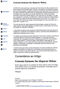 0335 genoma humano, avanço científico e reflexo na bolsa -Expr onl 8-4-2000