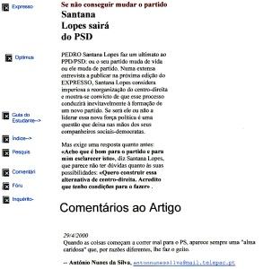 0346 Santana Lopes zangado com PSD -Expr onl 29-4-2000
