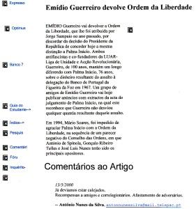 0352 condecorações, Emídio Guerreiro devolve a Ordem da Liberdade -Expr onl 13-5-2000