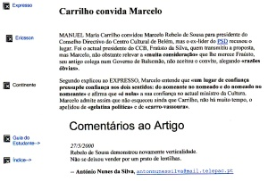 0356 Marcelo recusa convite do Ministro Carrilho para Centro Cultural de Belém -Expr onl 27-5-2000