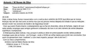 0358 ataques à saúde e segurança social -meu mail à Rádio Renascença 30-5-2000