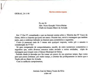 0057 História das Fragatas Vasco da Gama-carta ao CEMA sem resposta 24-1-1998