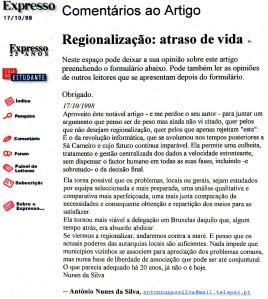 0092 regionalização Exp onl, 17-10-1998