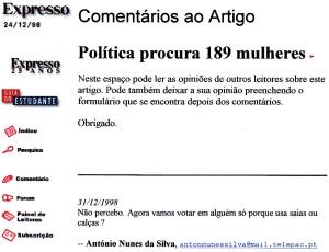 0109 quotas para mulheres -Exp 31-12-1998