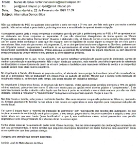 0130 programa eleitoral do PSD -mail de 22-2-1999
