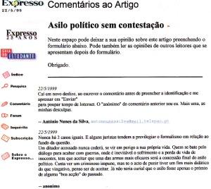 0169 asilo político a ditadores Expr onl 22-5-1999