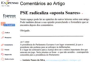 0193 canditadura de Soares ao Parlamento Europeu -Exp onl 10-7-1999