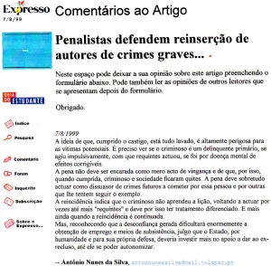 0207 Reinserção de autores de crimes graves -Expr onl 7-8-1999 - Copy