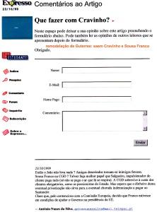 0251 remodelação de Guterres, saem Cravinho e S Franco -Expr onl 23-10-1999