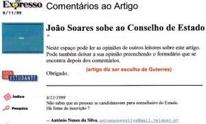 0257 João Soares candidato a Conselheiro de Estado -Expr onl 6-11-1999