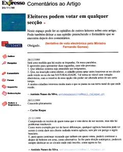 0261 voto electrónico -Expr onl 20 e 21-11-1999