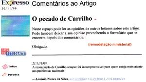 0262 Carrilho sai do Governo -Expr onl 21-11-1999