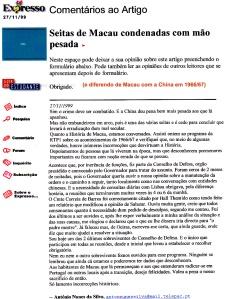 0266 Macau, seitas e História -Expr onl 27-11-1999