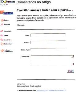 0272 Carrilho ameaça bater com a porta -Expr onl 11-12-1999