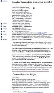 0431 Eanes rejeita promoção a marechal -Expr onl 18-11-2000