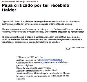 0454 João Pau II criticado por ter recebido Haider -Expr onl 17-12-2000