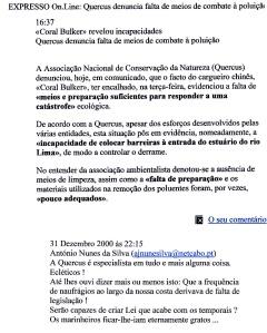0462 derrame de óleo e combate à poluição segundo Quercus -Expr onl 31-12-2000