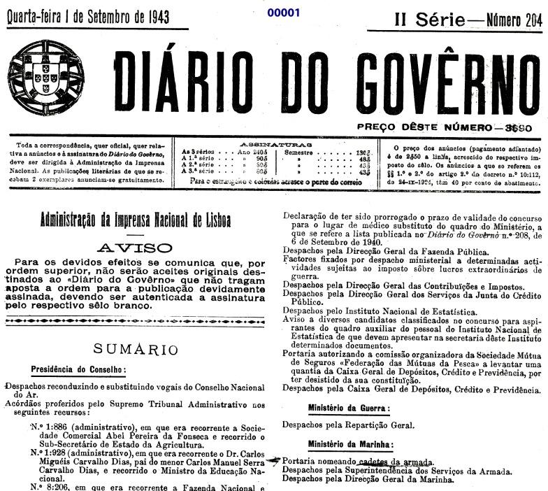 00001 943-09-01 Portaria de nomeação de cadetes da EN -Diário do Govêrno II Sér 204 -pg 4877