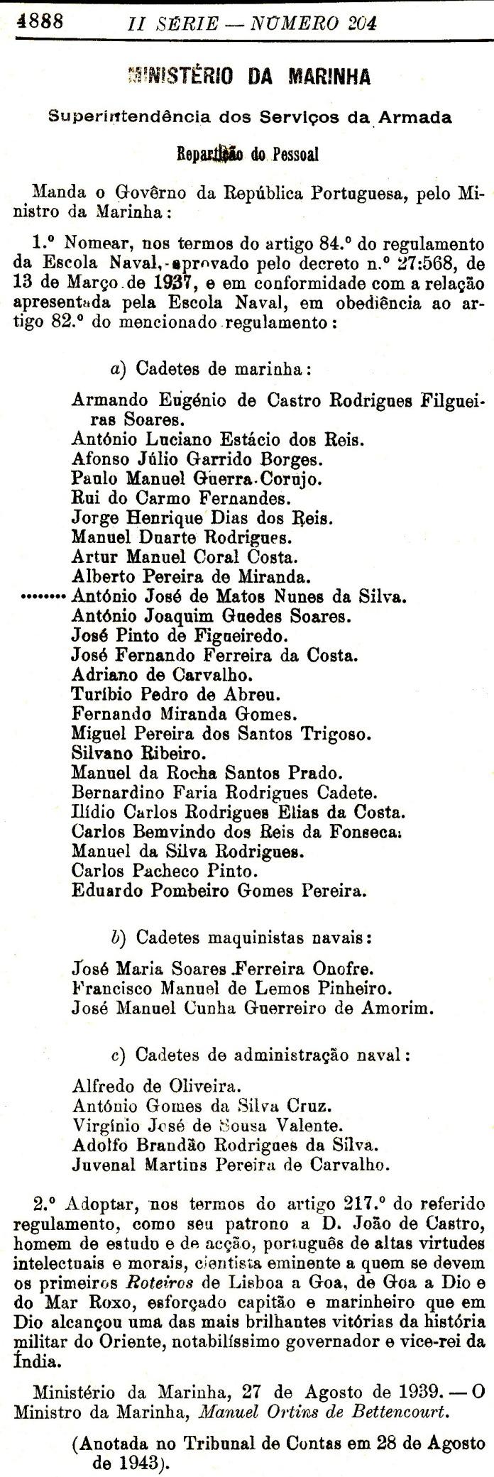 00002 943-09-01 Portaria de nomeação de cadetes da EN -Diário do Govêrno II Sér 204 -pg 4888
