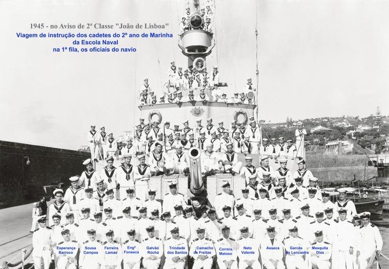00057 945-08-15 cadetes do D João de Castro e guarnição do João de Lisboa -com nomes dos oficiais