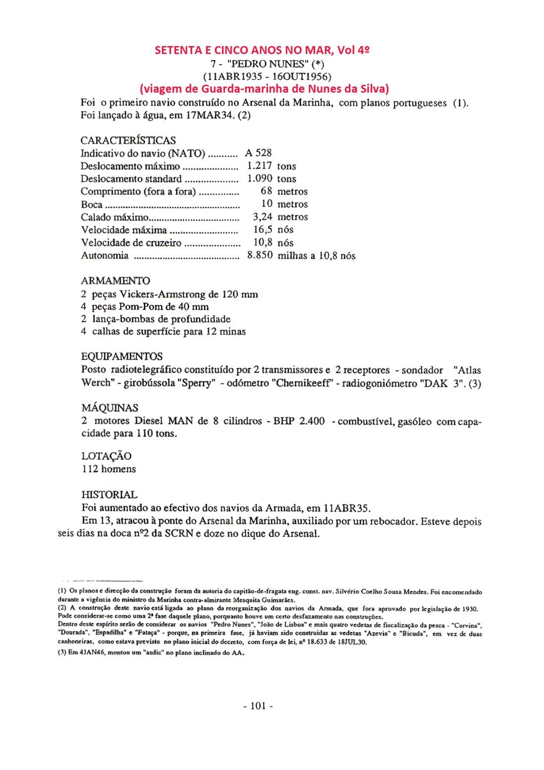 00079 Características do Pedro Nunes -Setenta e Cinco Anos no Mar, vol  4