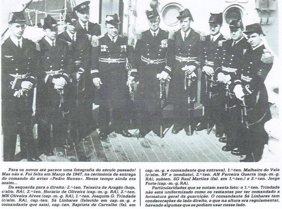 00082a 947-03 foto dos oficiais do Pedro Nunes da viagem de GM, na entrega de comando