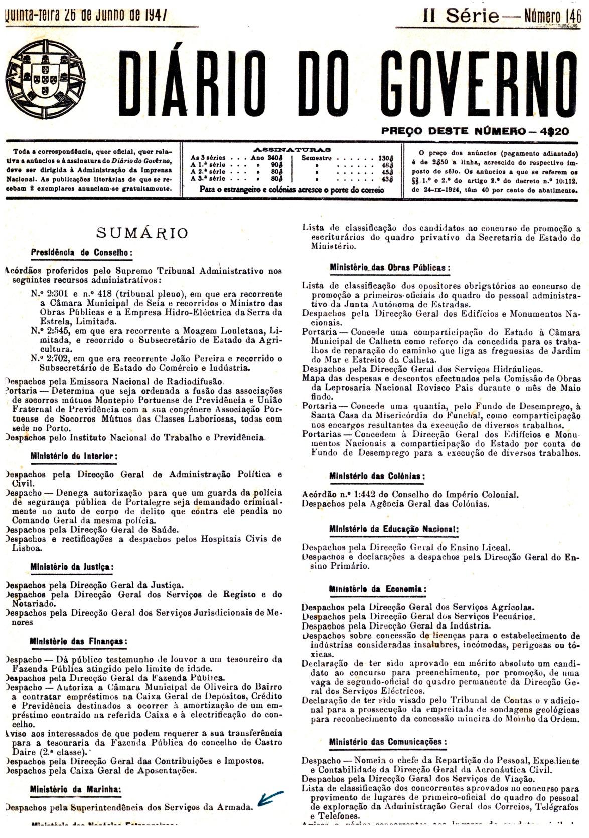 00123 947-06-26 promoção a 2º ten - DG II Ser 146 Port 3-6 capa