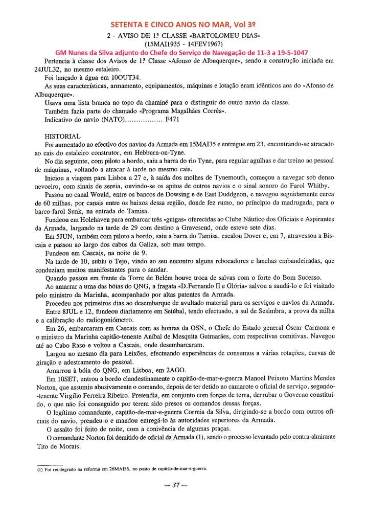 00128 Comissão a Tanger no Bartolomeu Dias -Setenta e Cinco Anos no Mar, Vol
