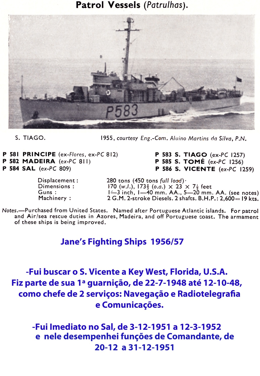 00148 Patrulhas classe S Vicente - Jane'sa Fighting Ships 1956-57