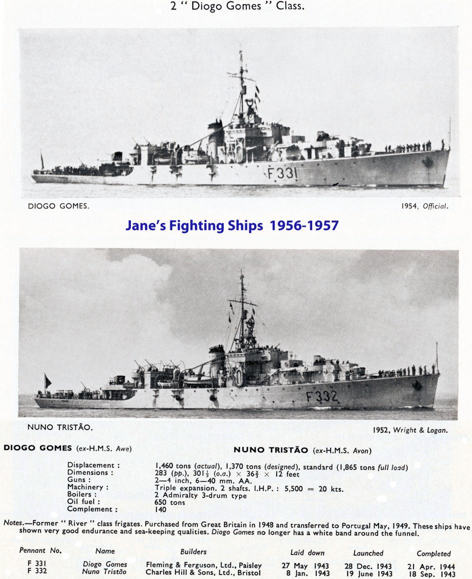 00173 silhuetas e características das FF Diogo Gomes -Jane's Fighing Ships 1956-57
