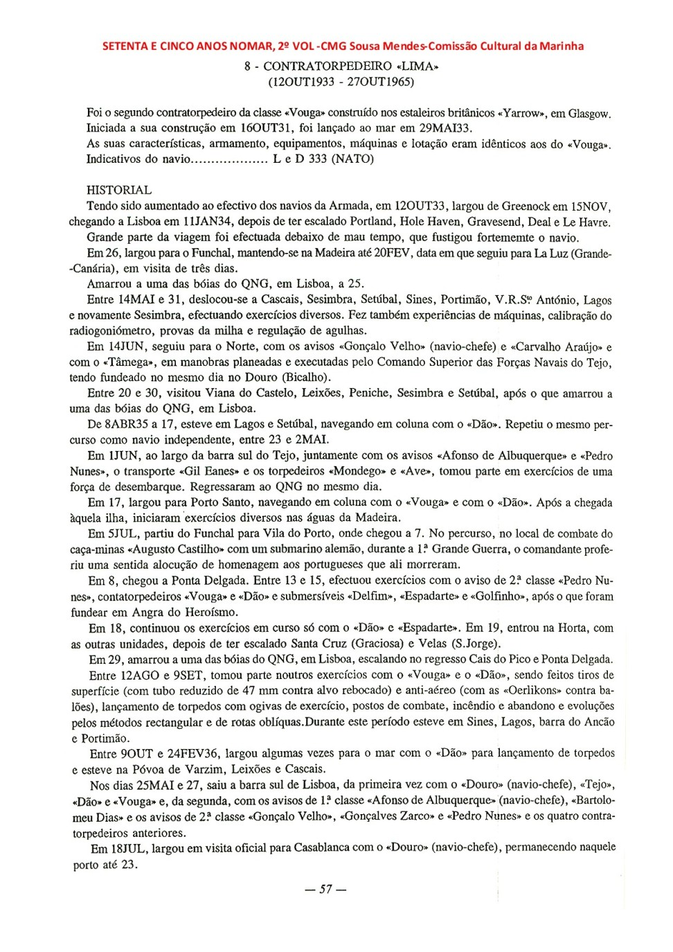 00180 Comissões do CT LIMA -Setenta e Cinco Anos no Mar, Vol 2º