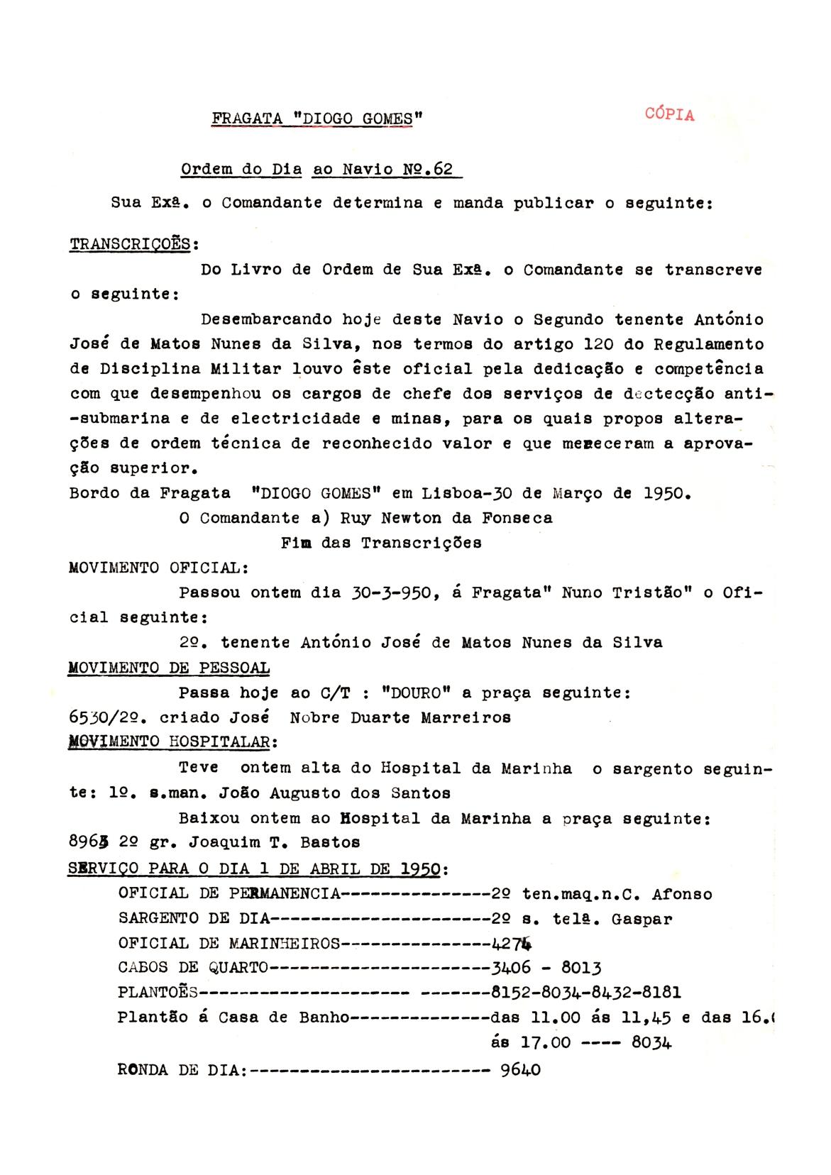 00182 950-03-30 Louvor ao 2º Ten Nunes da Silva -extracto da cópia da Ordem do Dia ao Navio da Diogo Gomes