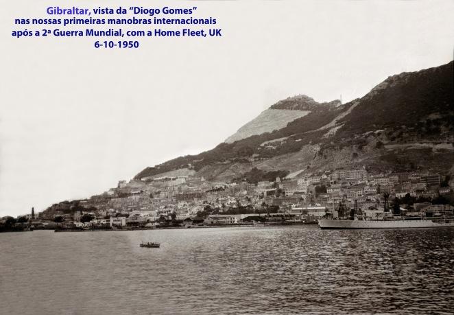 00201 950-10-06 Gibraltar vista da Fragata Diogo Gomes nas primeiras manobras internacionais de Portugal