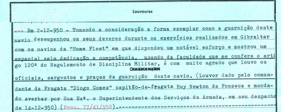 00207 950-12-02 louvor colectivo do comte da Diogo Gomes pelo sucesso das manobras de Gibraltar