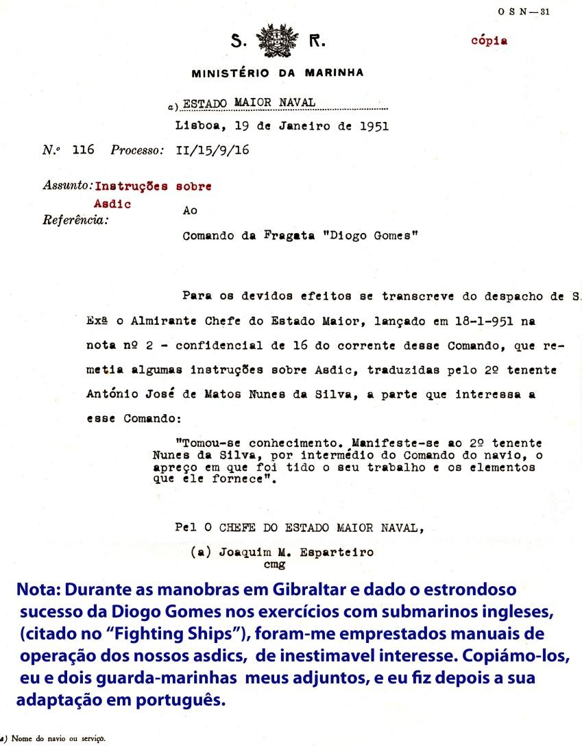 00208 951-01-19 Menção de apreço do Alm Chefe do Estado Maior Naval por tradução de manuais de operação de sonares