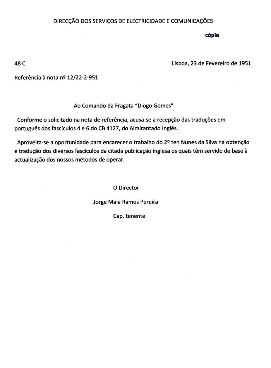 00212 951-02-22  nota da DSEC elogiando meu trabalho manuais de operação do Asdic