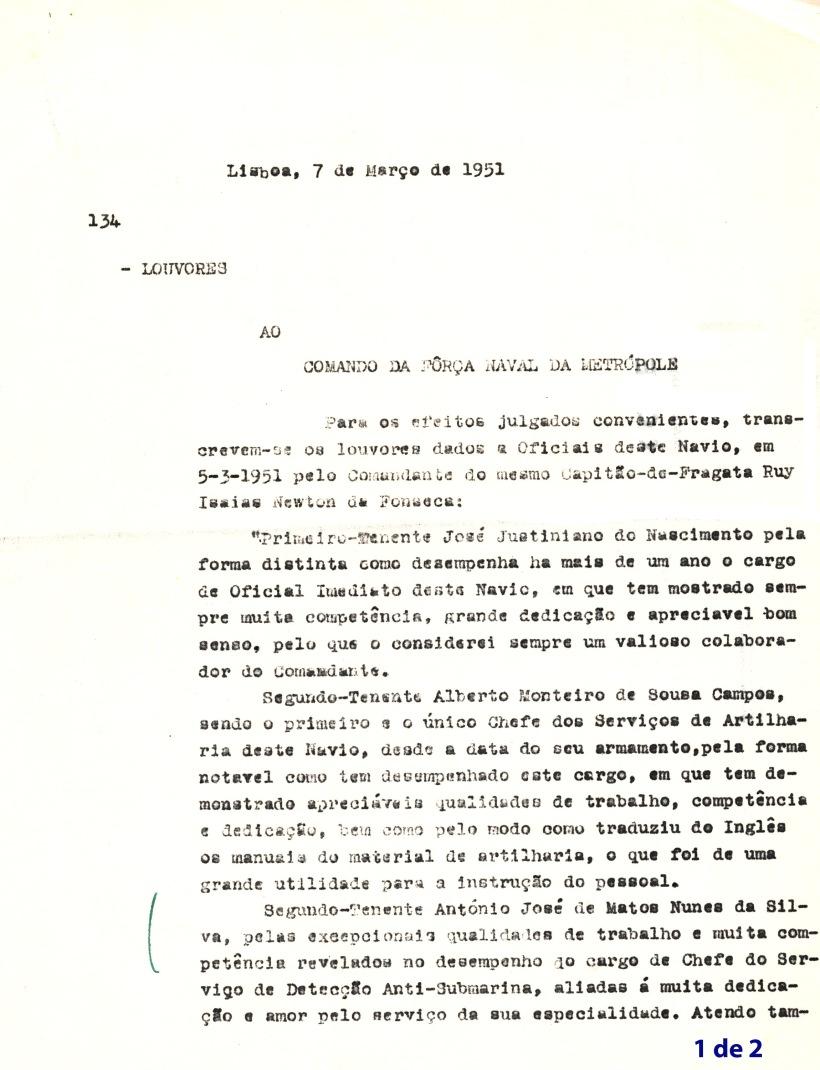 00214 951-03-07 teor completo do louvor individual do comte da Diogo Gomes  cap frag Newton da Fonseca pg 1 de 2