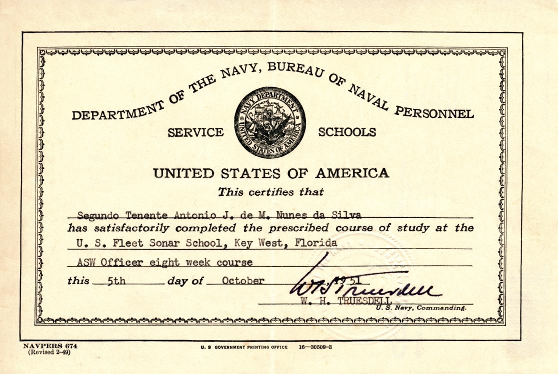 00227 951-10-05 Certificado USA de eu ter completado o curso ASW Officer na Fleet Sonar Scool