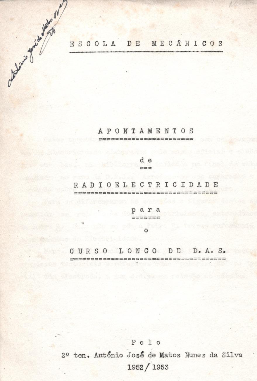 00254 952 Curso de Radioelectricidade para oficiais AS - capa interior