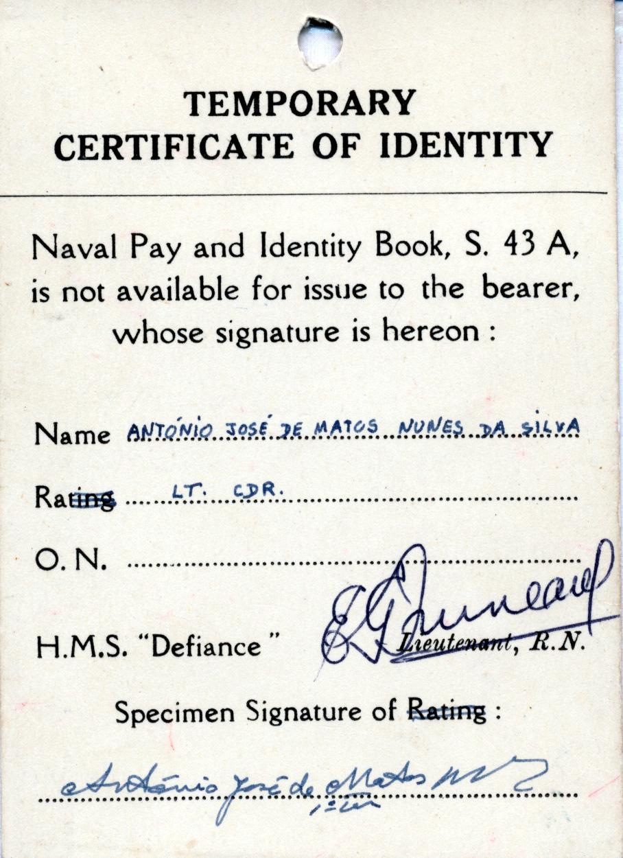 00276 954 cartão de acesso a HMS Defience