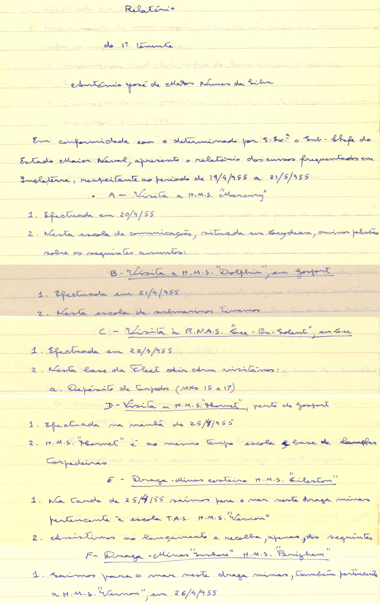 00286 955-05-21 extractos de relatório sobre diversos estágios pós exames curso TAS - 1 de 2