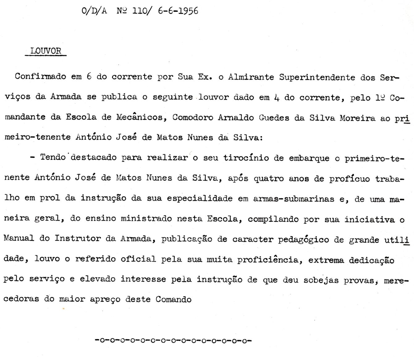 00297 956-06-06 Louvor do Comandante da Escola de Mecânicos -ODA 110 de 6-6-1956
