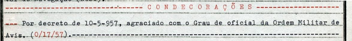 00319 957-05-10 condecorado com o grau de Oficial da Ordem Militar de Avis por decreto desta data - Nota de Assentamentos